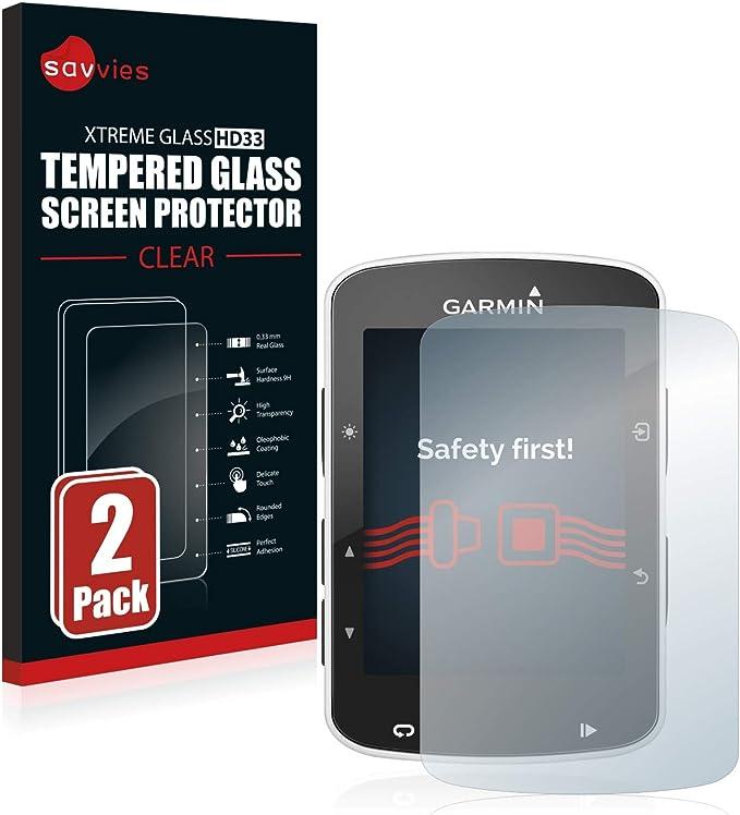 savvies Cristal Templado Compatible con Garmin Edge 520/820 (2 Unidades) Protector Pantalla Vidrio Proteccion 9H Pelicula Anti-Huellas: Amazon.es: Electrónica
