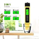 TDS Meter Digital Water Test Meter, TDS Temperature & Conductivity Meter 3 in 1, 0-9999 ppm, Hydroponics EC Meter, Digital Water Quality Testers for Drinking Water, ppm Meter for Hydroponics Aquarium