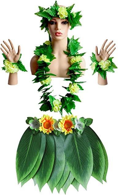 PRETYZOOM Falda de Hierba de Hula Tropical Hawaiana con Hojas ...
