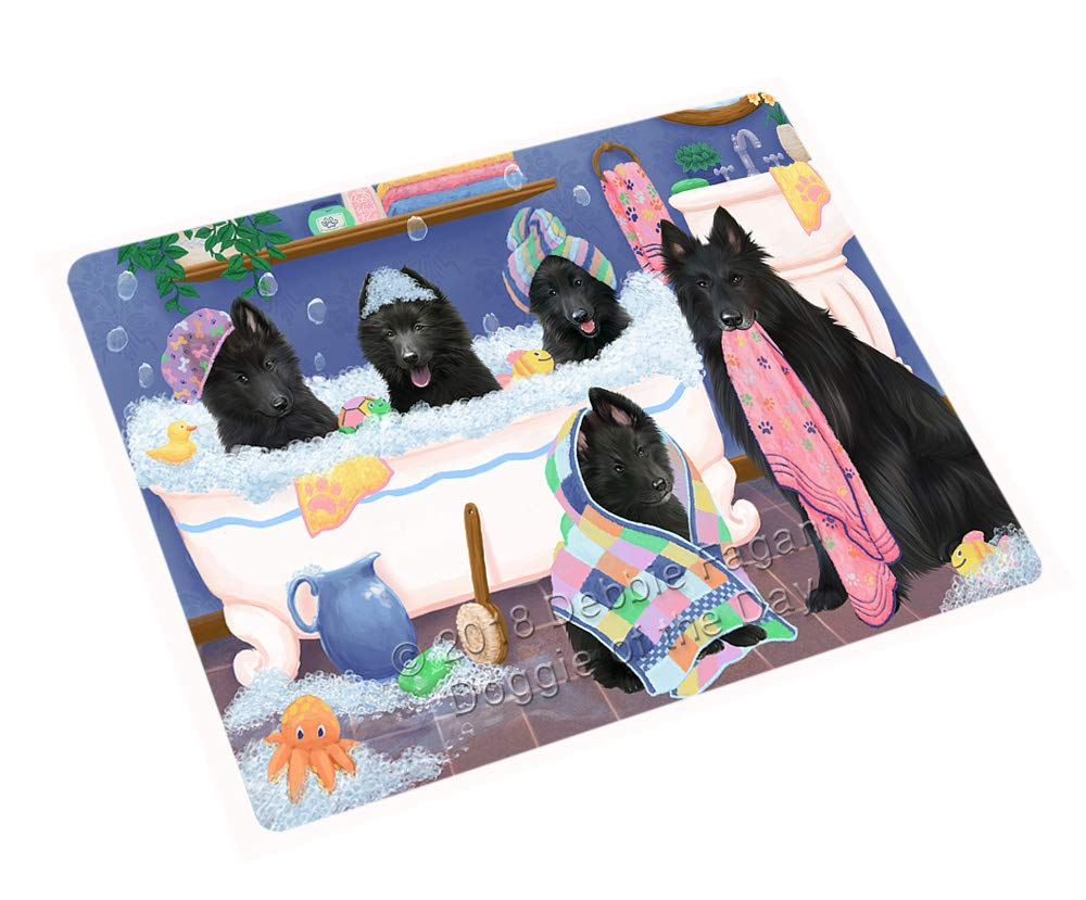 Rub A Dub Dogs in A Tub Belgian Shepherds Dog Blanket BLNKT130269 (50x60 Plush)