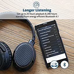 Active Noise Cancelling Bluetooth Headphones, iDeaUSA Wireless Headphones with Microphone Over Ear Headphones with aptX HiFi Stereo Sound 25 Hours Playback - Black