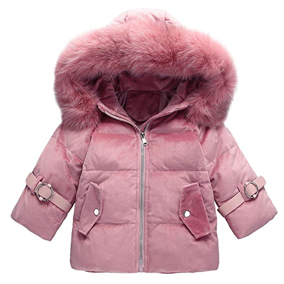 c28279577fb Minizone Baby Girls Down Puffer Jackets with Hat Winter Coats Winter  Outwear  Amazon.co.uk  Clothing