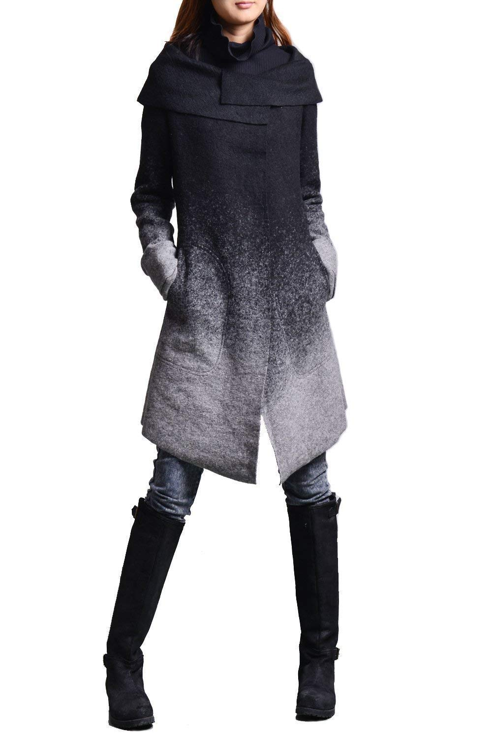 Free Shipping-Women's Gradient Woolen Coat + Cotton Top Set Black