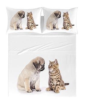Zenoni & Colombi Sábanas/Colcha Perros y Gatos en 100% algodón Puro Individual