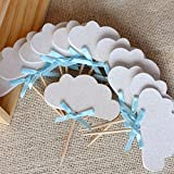 Up Up and Away Party Decor. Cloud Cupcake Toppers. 12CT.
