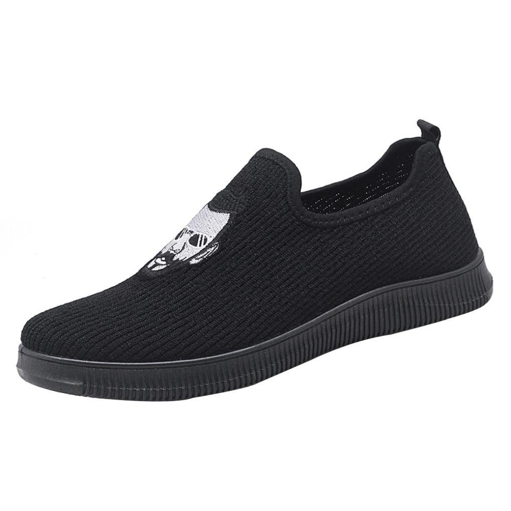 SUKEQ Men Sneakers, Boys Oxfords Fashion Loafers Lightweight Breathable Anti Slip Shoes Slip On Casual Tennis Shoes for Running, Working, Walking, Hiking (7.5 D(M) US, Black)