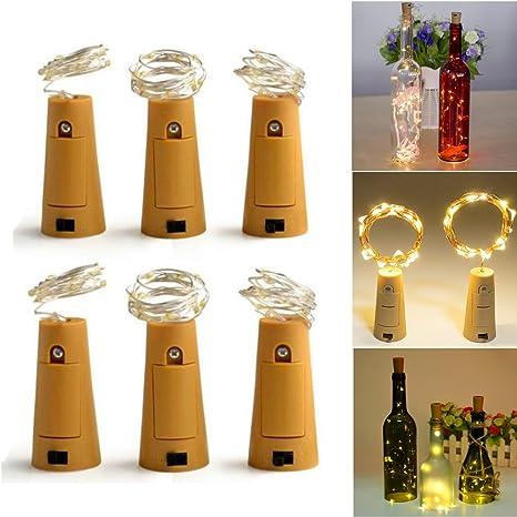 Botella Luz, 6 unidades LED Luz ánimo luces luz, 200 cm con 20 ledes