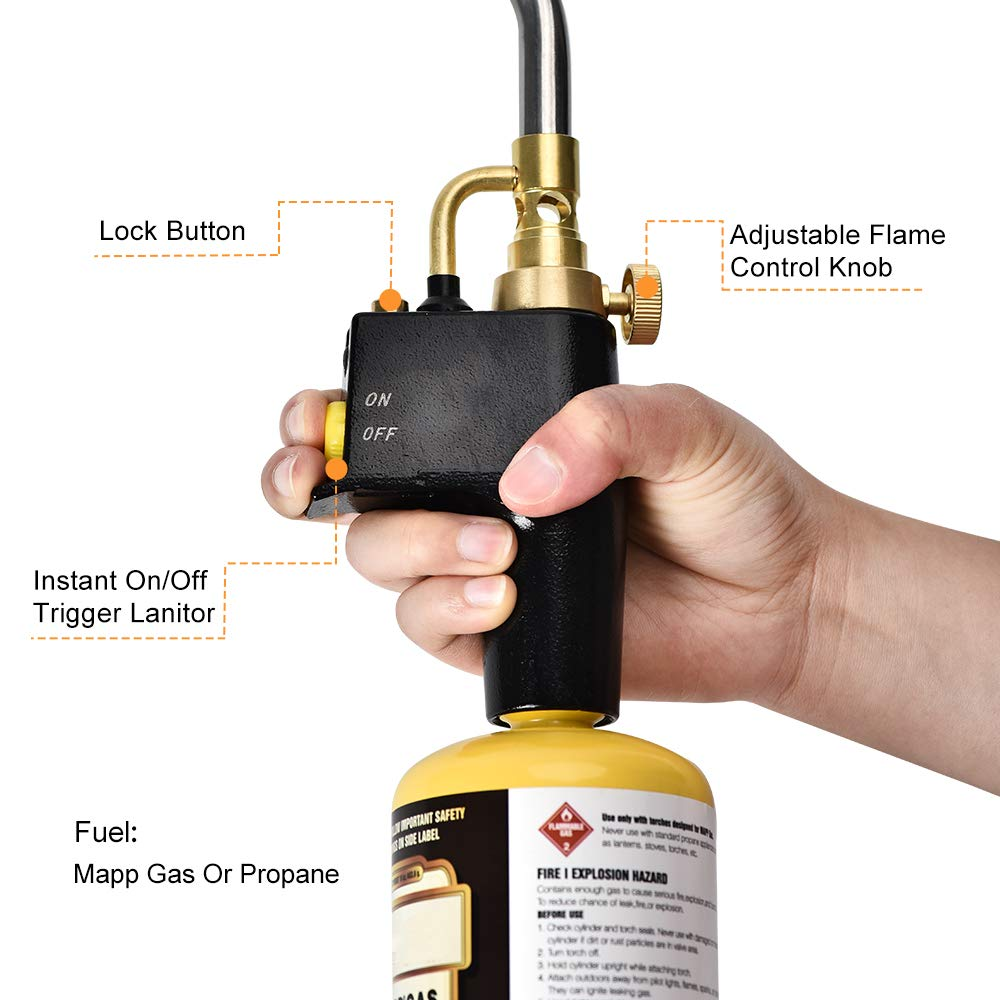 Gas cylinders not Included HUKOER MAPP Propane Torch Brazing Soldering Searing Torch High Intensity Trigger Start Torch with 3 Nozzles//Tips