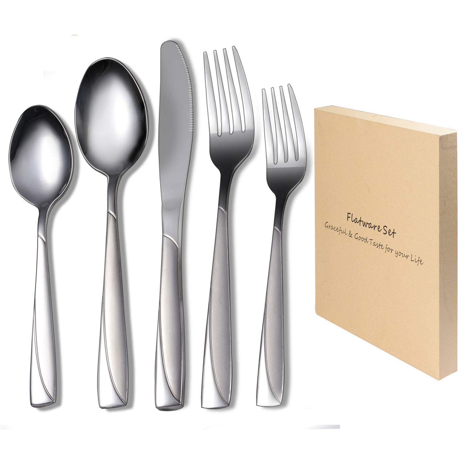 Flatware Set, VKEEW Silverware Set Stainless Steel Cutlery Set Home Kitchen Hotel Restaurant Wedding Tableware, Dishwasher Safe (Silver, 18/10 Steel,20pcs)