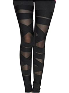 67a4d2b164be8 Abyelike Women's Nylon Mesh Black Sexy Solid Color Bandage Straps Leggings  Tight Pants, One Size