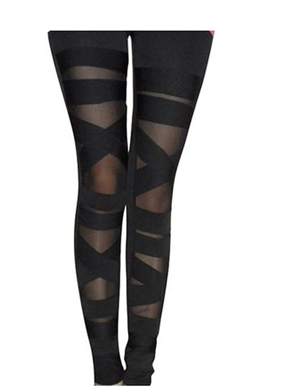 06b9dccdfa149b Abyelike Women's Nylon Mesh Black Sexy Solid Color Bandage Straps Leggings  Tight Pants, One Size at Amazon Women's Clothing store: