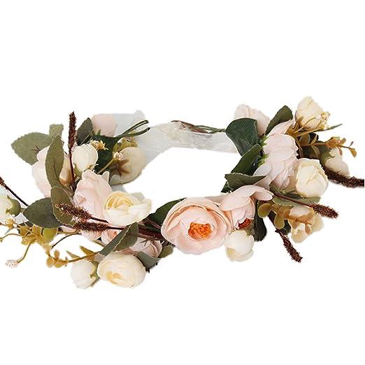 Amazon Yazilind Flower Wreath Rose Floral Crown Garland