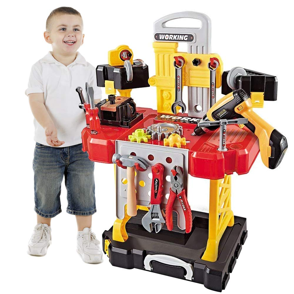 Young Choi's Toy Power Workbench, kids Power Tool Bench Construction Set with Tools Electric Drill and Toy Helmet, 91 Pieces Toddlers Toy Shop Tools for Boys Young Choi' s