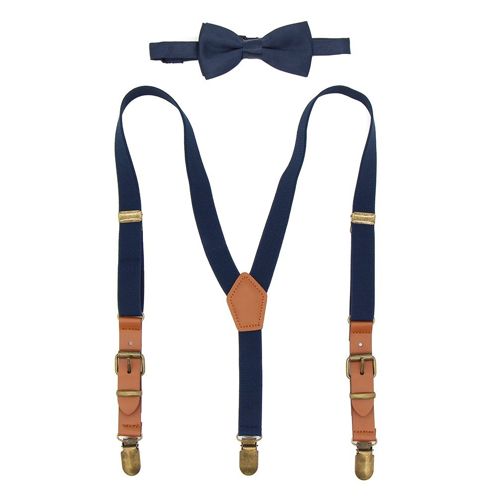 Kids Suspenders and Bow Tie Set Adjustable Elastic Y-back Tuxedo Suspender Braces with Brown Leather & Bronze Clips for Boys Girls Navy Blue