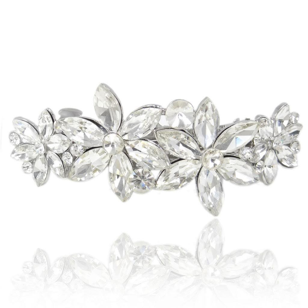EVER FAITH Wedding Silver-Tone 4 Daisy Flower Hair Clip Barrette Austrian Crystal Clear