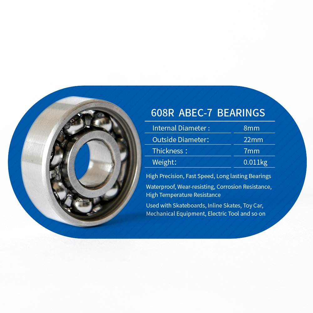 ABEC 7 Bearings Skateboard Bearings Skate Bearings/(Red FHL 608R Freedare ABEC-7 Bearings - Skateboard Bearings, Longboard Bearings, Inline and Roller Skate Bearings(1 Set of 8