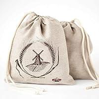 Linen Bread Bags - 2-Pack 30 x 40 Speical Art Design Natural Unbleached Linen Reusable Food Storage for Homemade Artisan Bread