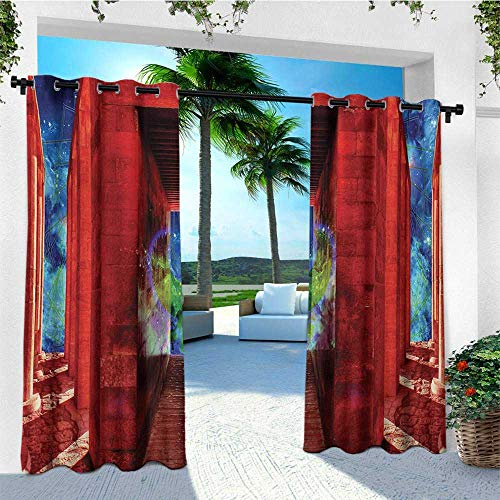 leinuoyi Egypt, Outdoor Curtain Wall, Phoenix Greek Mythical Creature Reborn Bird in Building with Stairs Digital Image, Fashions Drape W84 x L96 Inch Orange Blue]()