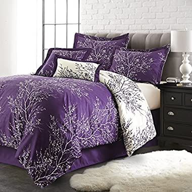 Spirit Linen Hotel 5Th Ave 6-Piece Foliage Collection Plush Reversible Comforter Set, King, Purple/Ivory