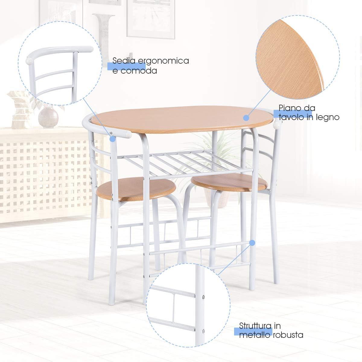 Goplus Set Tavolo con 2 Sedie da Pranzo, Set Mobili