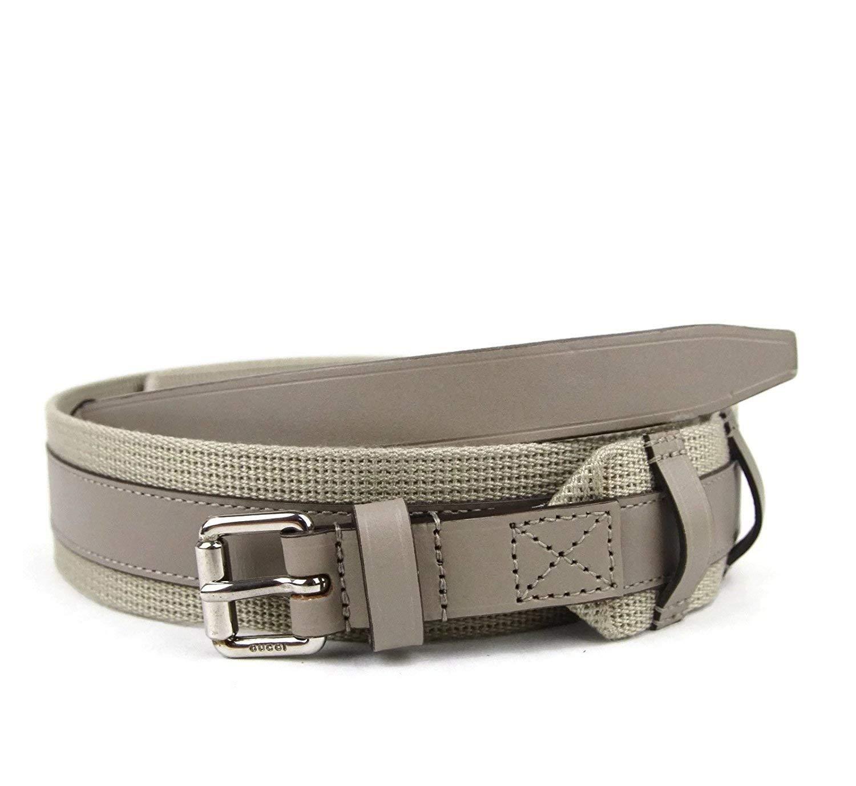 f718b7ea38c Gucci Men s Beige Leather Fabric Square Buckle Belt 341744 1523 (105 42)