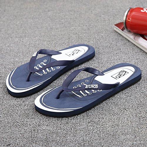 Xing Lin Sandalias De Hombre Flip-Flops De Hombres Jóvenes Del Hombre Nuevo Verano Antideslizante De La Juventud Masculina De Playa Cool Zapatillas Navy blue