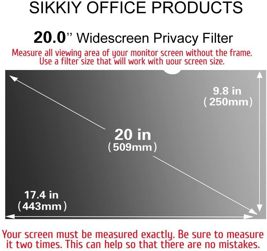 Computer Privacy Screen Filter Anti-Glare 16:9 Aspect Ratio Anti-Scratch Protector Film for Data confidentiality SIKKIY 20.0 Inch Diagonally Measured for Widescreen Computer Monitors