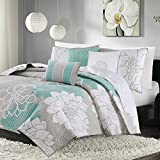 Madison Park MP13-2645 Lola 6 Piece Quilted Coverlet Set, King/California King, Aqua