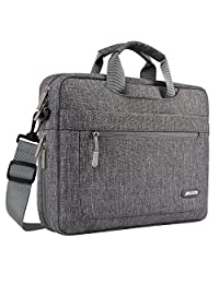 Mosiso Polyester Messenger Laptop Shoulder Bag for 11.6-13.3 Inch MacBook Air, MacBook Pro, Notebook Computer, Protective Briefcase Carrying Case with Adjustable Depth at Bottom, Gray