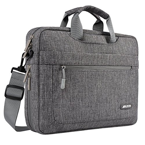 MOSISO Laptop Shoulder Bag Compatible with 17-17.3 inch MacBook/Dell/HP/Lenovo/Acer/Asus/Samsung/Sony with Adjustable Depth at Bottom, Polyester Messenger Briefcase Carrying Handbag Sleeve, Gray