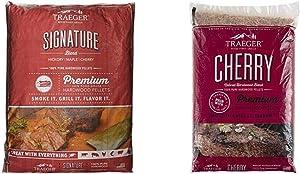 Traeger Grills PEL331 Signature Blend 100% All-Natural Hardwood Pellets(20 lb. Bag) & Grills PEL309 Cherry 100% All-Natural Hardwood Pellets Grill, Smoke, Bake, Roast, Braise and BBQ, 20 lb. Bag
