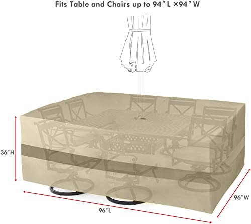 SunPatio Outdoor Table and Chairs Cover, Patio Furniture Set Cover 96 L, Water Resistant Square Dining Table Set Cover with Umbrella Hole, Lightweight, Helpful Air Vents, Neutral Taupe