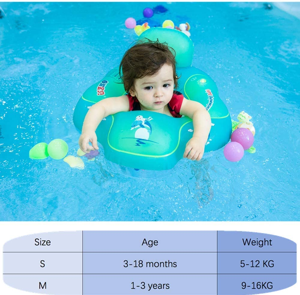 Blue, S Myir Baby Float Swimming Seat Baby Swimming Ring Adjustable Waist Inflatable Pool Float Swimming Trainer for Baby Infant Toddler with Manual Pump