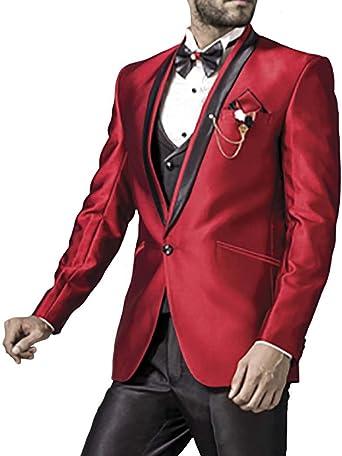 INMONARCH Rojo carmesí Hombres 7 Pc traje esmoquin guapo un botón ...