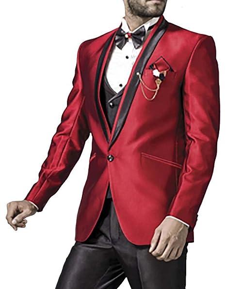 Amazon.com: INMONARCH Mens rojo carmesí 7 pieza Tuxedo Suit ...