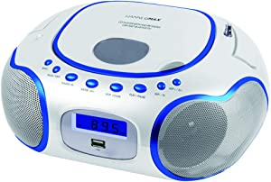 HANNLOMAX HX-309CD Portable CD/MP3 Boombox, AM/FM Radio, Bluetooth, USB Port for MP3 Playback, Aux-in, LCD Display, AC/DC Operated (White)