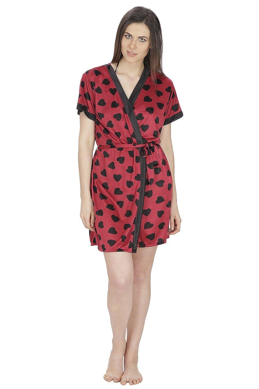 af6d98491e52 Secret Wish Women's Satin Maroon Robe, Bra & Panty Set (Maroon, Free Size):  Amazon.in: Clothing & Accessories