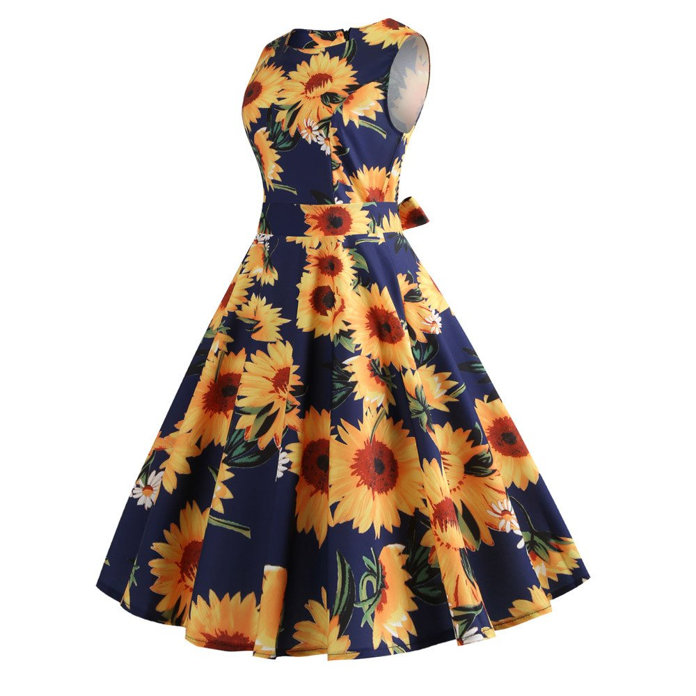 Dresses Learned Women Dress Elegant Retro Print The Waist Dress Vintage Printing Bodycon Sleeveless Casual Evening Party Prom Swing Dress A.18 To Be Distributed All Over The World