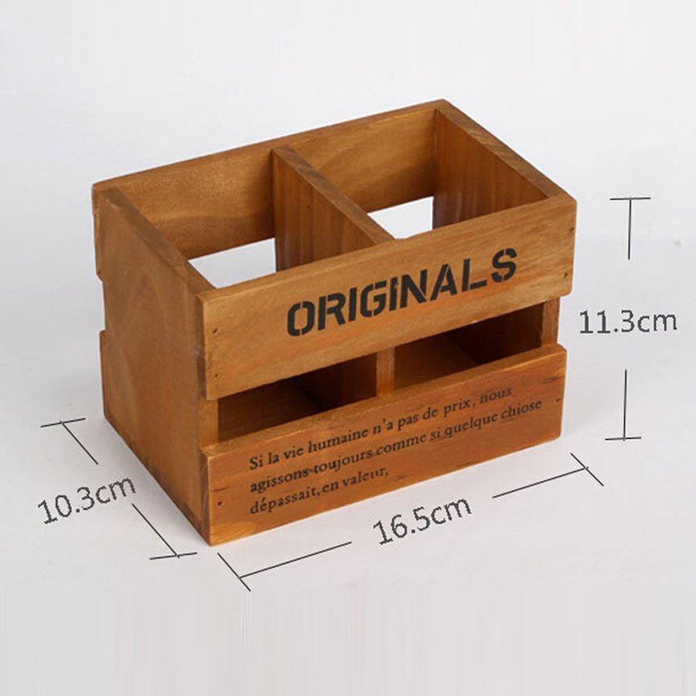 fablcrew Stifthalter aus Holz Retro Box Desktop-Finishing-16.5* 10.3* 11.3cm