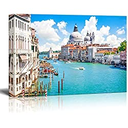 "Canvas Prints Wall Art - Beautiful Landscape/Scenery Grand Canal with Basilica Di Santa Maria Della Salute, Venice, Italy | Modern Wall Decor/ Home Decoration Stretched Gallery Canvas Wrap Giclee Print & Ready to Hang - 24"" x 36"""