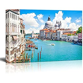 Canvas Prints Wall Art - Beautiful Landscape/Scenery Grand Canal with Basilica Di Santa Maria Della Salute, Venice, Italy | Modern Wall Decor Stretched Gallery Canvas Wrap Giclee 24
