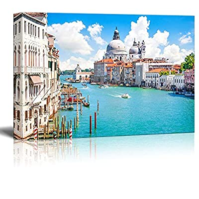 Canvas Prints Wall Art - Beautiful Landscape/Scenery Grand Canal with Basilica Di Santa Maria Della Salute, Venice, Italy | Modern Wall Art Stretched Gallery Canvas Wrap Giclee 32