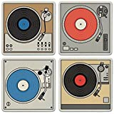 CoasterStone Absorbent Coasters (Set of 4), Turntables, 4-1/4''