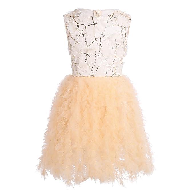 iEFiEL Vestido de Flores Con Lentejuelas Para Fiesta de Boda Vestidos Bebés Niñas 12 Meses-