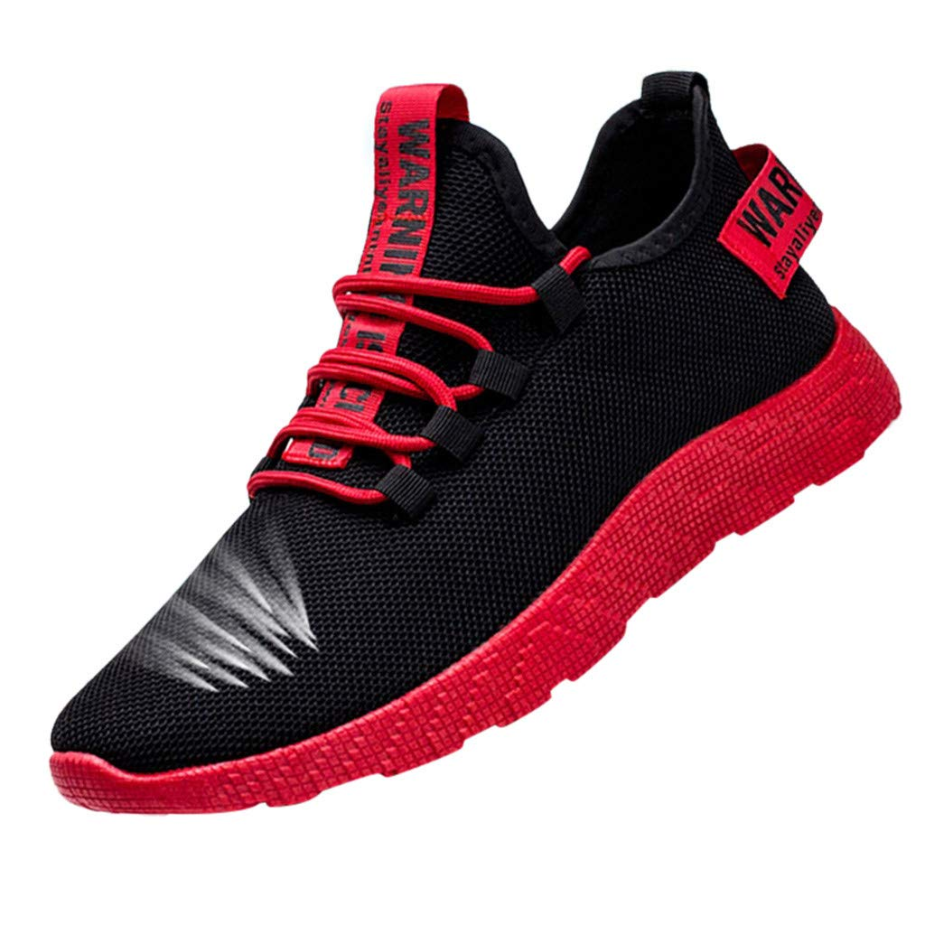 OutTop(TM) Men's Sports Shoes Mesh Casual Athletic Running Shoes Lightweight Breathable Fashion Sneakers (US:8, Red)
