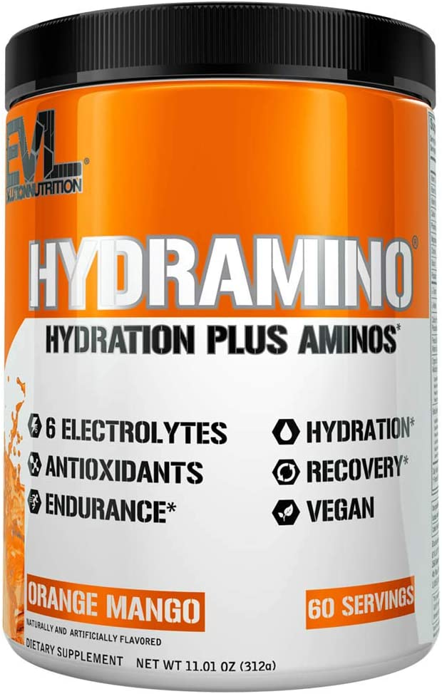 HYDRAMINO Complete Hydration Multiplier, All 6 Electrolytes, Vitamin C & B, Fluid Boosting Aminos, Coconut Water, Endurance & Recovery, Immunity Support, Antioxidants, 0 Sugar, 60 Serve, Orange Mango
