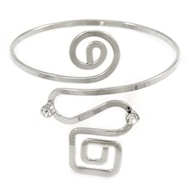 Avalaya Polished Silver Tone Square and Circle Geomentric Upper Arm, Armlet Bracelet - 27cm L - Adjustable
