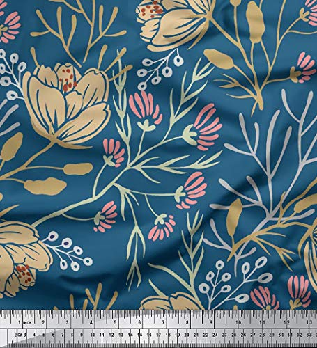 Soimoi Floral Printed 58 Inches Wide Viscose Rayon Sewing Fabric 115 GSM Supply by The Yard - Teal Blue