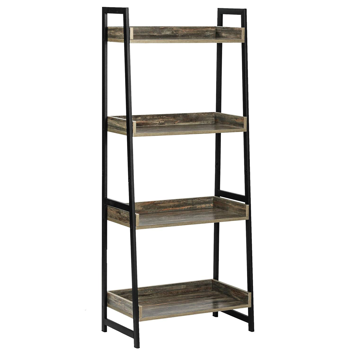 IRONCK Industrial Bookshelf, Ladder Shelf 4-Tier with Baffle, Storage Shelves, Wood Look Bookcase for Bathroom, Living Room, Sturdy, Retro Colorful Light by IRONCK
