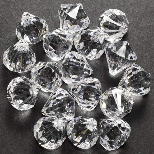 60 Small Clear Crystal Like Drop Ornaments Diamond shape